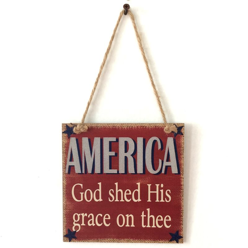Rustic Wooden Hanging Plaque Sign Board America God Shed His Grace On Thee Room Wall Door Home Decoration Gift-in Plaques & Signs from Home & Garden