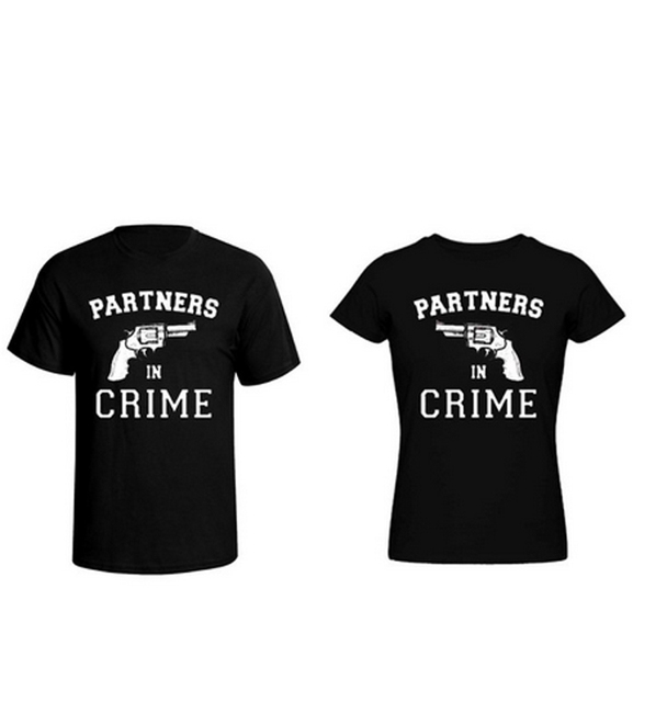 c5f366133 Girlfriend   Boyfriend Couple T-shirt Partners in Crime Matching Love Tees  for Couples Valentine s Day Gift Tee Shirt Cotton Tee