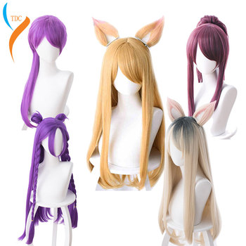 Hot Game LOL KDA Cosplay Wig Akali Ahri Evelyn Kaisa Cosplay Wig Heat Resistant Synthetic Wig Halloween Carnival Party Cos Wigs image