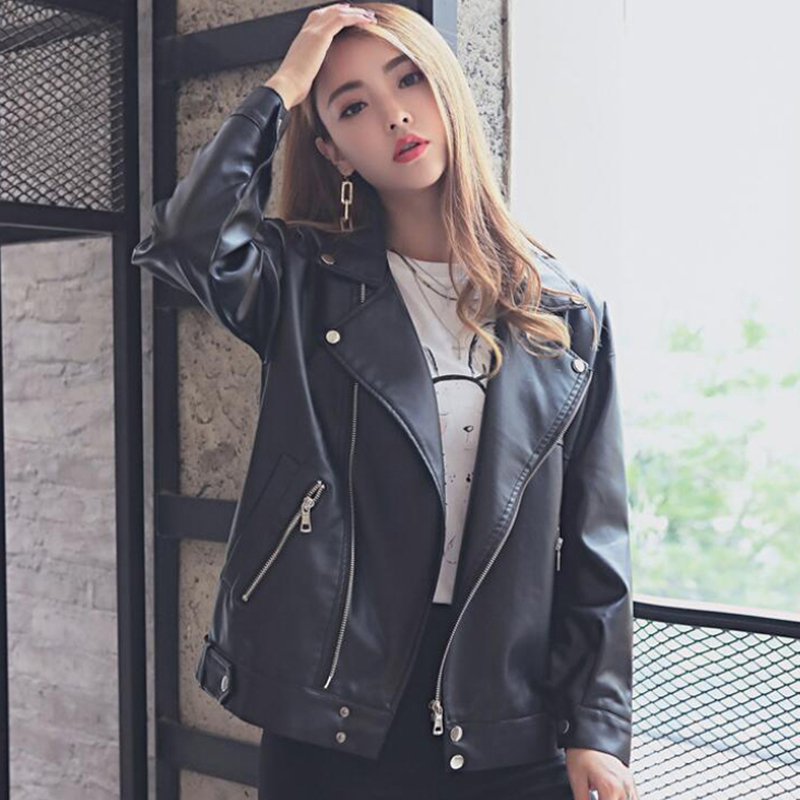 Korean Style Women Fashion   Leather   Jacket Boyfriend Ovesized Female Outwear   Leather   Coat Black Moto Biker Jackets