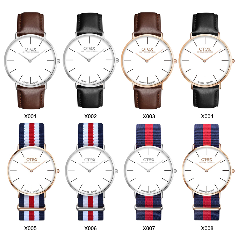otex Top Brand Watches Men Women High Quality Nylon Leather Rose Gold Silver Clock 40cm Relogio