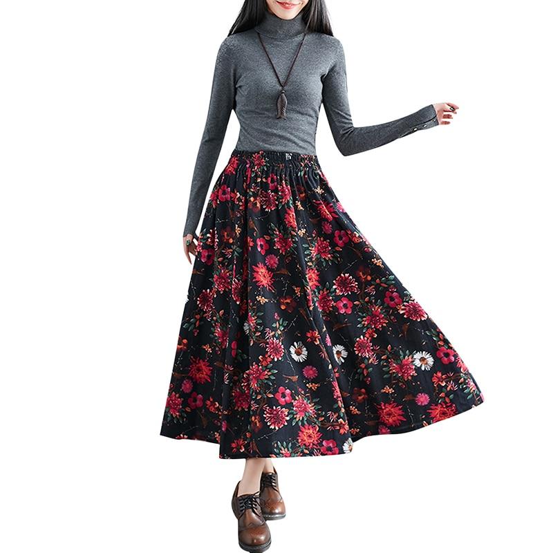 74ed66801cb3e 2019 New Summer Women Floral Print Midi Skirt Elastic Waist Pockets ...