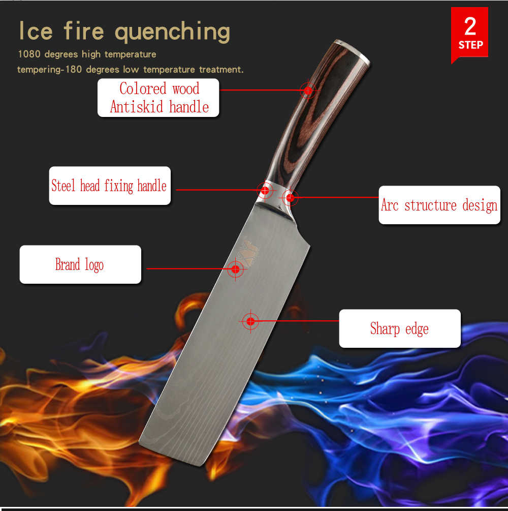XYj Japanese Stainless Steel Kitchen Knife Chopping Knife Non-stick Nakiri Damascus Veins Pattern Meat Cleaver Cooking Tools