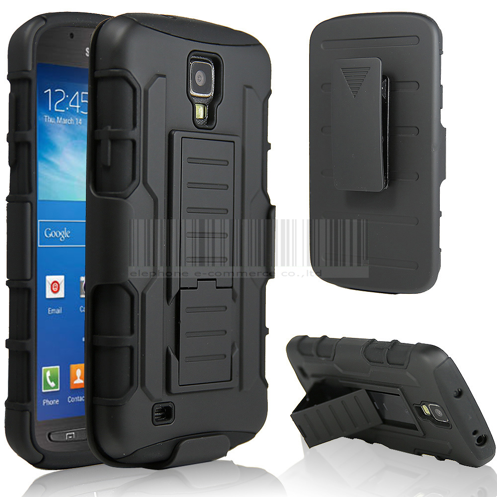 Black Protective Armor Impact Holster Hybrid Hard Case For SAMSUNG GALAXY S4 ACTIVE i537 i9295 Phone Cover Skin With Belt Clip