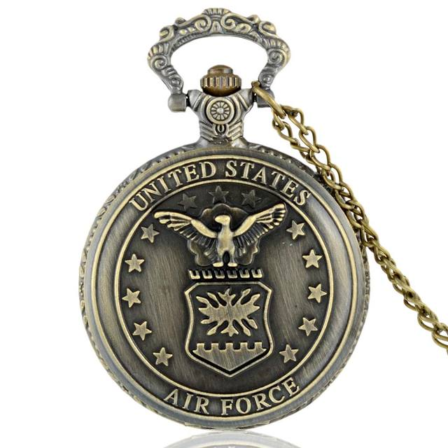 Classic Vintage Bronze United States Air Force Quartz Pocket Watch Retro Men Wom