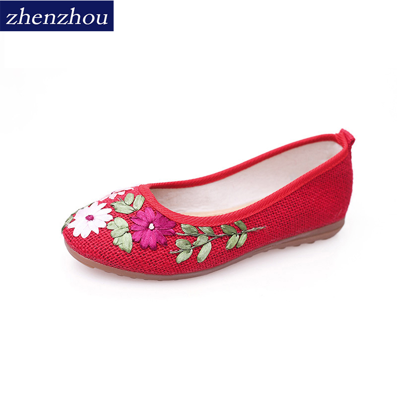 zhen zhou 2017  Women Flower Flats Slip On Cotton Fabric Casual Shoes Comfortable Round Toe Flat Shoes Woman Plus Size siketu sweet bowknot flat shoes soft bottom casual shallow mouth purple pink suede flats slip on loafers for women size 35 40