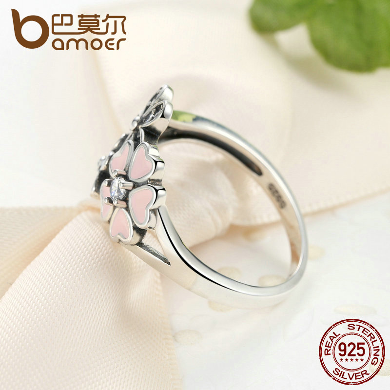 BAMOER Fashion 925 Sterling Silver Pink Flower Poetic Daisy Cherry Blossom Finger Ring for Women #6 7 8 9 Size Jewelry SCR004