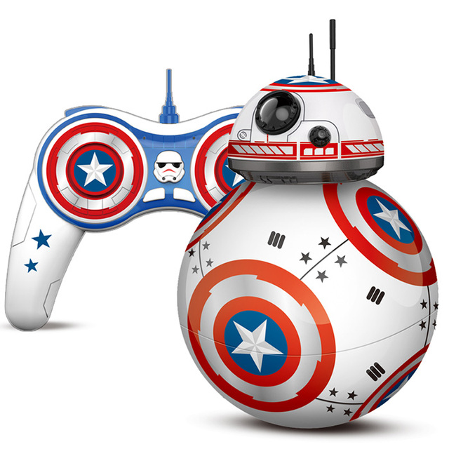 Bb8 captain america star wars rc bb8 droid robot 2.4g control remoto inteligente bola chritmas regalo juguete recargable
