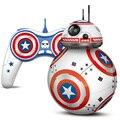 Capitão américa star wars rc bb8 bb8 droid robot 2.4g controle remoto inteligente bola chritmas presente brinquedo recarregável