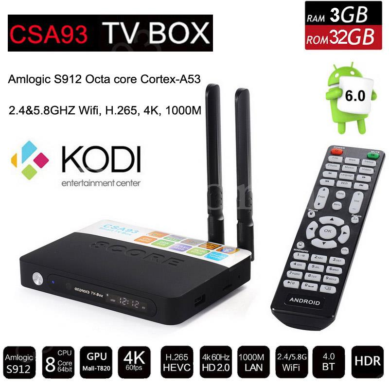 CSA93 Android 7.1 Smart TV Box 3GB RAM 32GB ROM 2G 16G Amlogic S912 Octa Core Streaming 4K Media Player Wifi BT4.0 Set Top Box 3gb 32gb android 7 1 smart tv box csa93 amlogic s912 octa core wifi bt4 0 4k 1000m lan streaming smart media player i8 keyboard