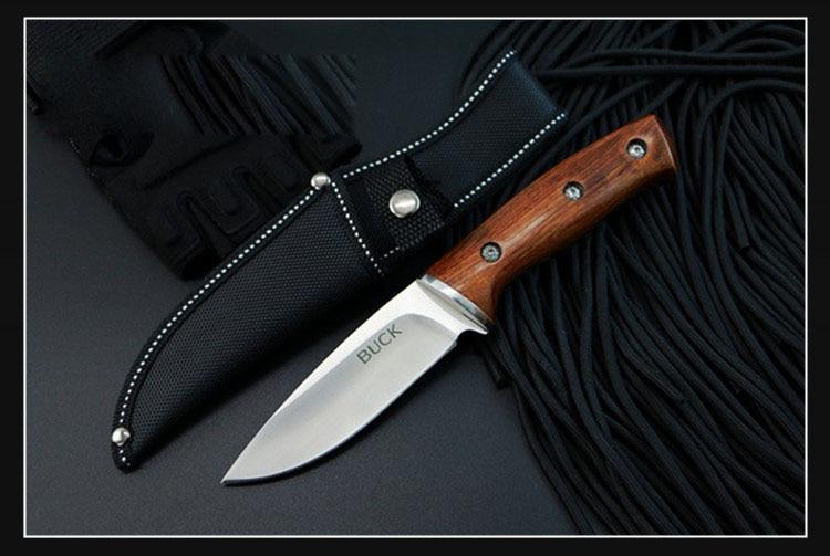 BUCK Satin Fixed Blade font b Knife b font Hunting Straight font b Knife b font