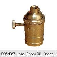 Vintage Edison Chủ Bulb Đèn Đồng Retro Núm Vàng Đèn Chuyển Đổi Ổ Cắm E26E27 UL Top Chất Lượng Pendant Đèn Căn Cứ 2 Cái/lốc