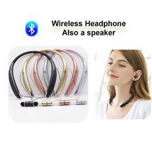 Bluetooth Neck-mounted Headphones with Mic Wireless Speaker Headset Dual Use Magnetic Earphone Player Buds Set For Xiaomi Huaw(China)