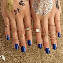 Midi Rings Sets For Women Opal Gold Ancient Plated Beach Boho Vintage Turkish Punk Knuckle Ring Jewelry Lucky Gift(China)