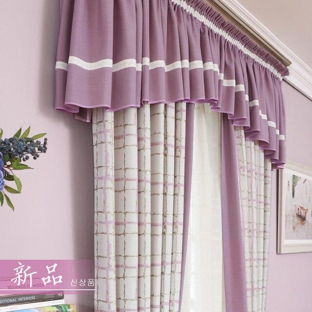 coton jacquard fentre rideau pour chambre de princesse plaid blackout tissu rideaux rose fille panneaux bleu