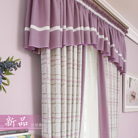 Curtains For The Living Room Princess Jacquard Drapes Plaid Girl Blinds Fabric Cotton Purple Panel Drape