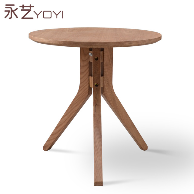 Small round table coffee leisure wooden a few side corner three legged designer furniture ...