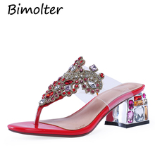 Bimolter 2019 Red Shining flip flops African Women Slippers Shoes Italian Shoes Party Wedding Summer Leather Crystal Shoes FB027 sl 887 red free shipping new arrives african shoes and matching bag hot selling italian shoes and bags set for african wedding