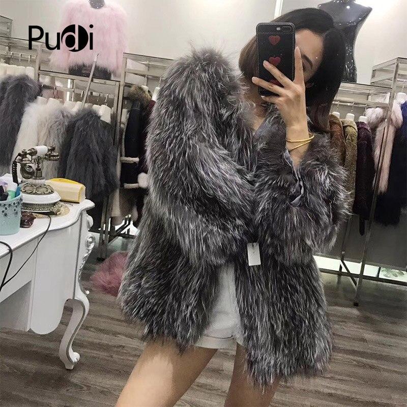 170907 Fox Mode Véritable 100Réel Veste Pudi Outwear D'hiver Fourrure Chaud Femmes Silver Tricot Tricoté Manteau De 2IYE9WDH
