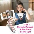 3 in 1 MiniPai Bluetooth Selfie Stick with Rear Mirror and LED Selfie Light Monopod Fill Light for iPhone Samsung Android Phones