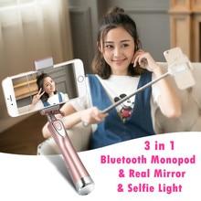 Ulanzi MiniPai Universal Bluetooth Selfie Stick Monopod with mini Rear Mirror/LED Selfie Fill Light for iPhone X Huawei Samsung