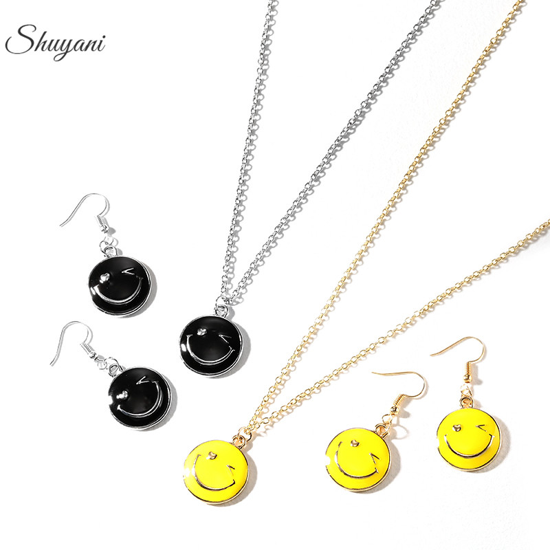 korean Style Jewelry Set Cartoon Emotion Smile Face Earring with QQ Expression Chain Necklace For Ladies Causal Jewelry