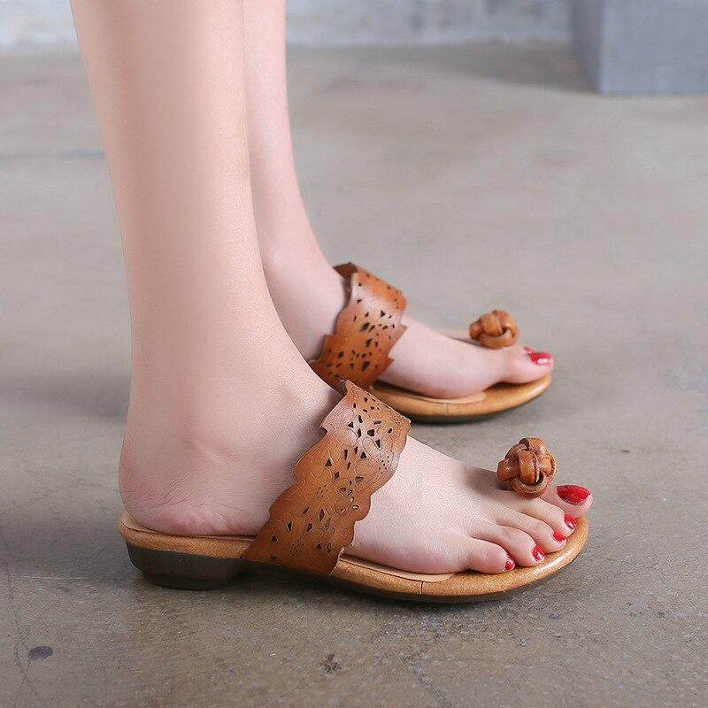 Sommer Hausschuhe Frauen Kuh Leder Hausschuhe Sandalen Frauen - Damenschuhe - Foto 4