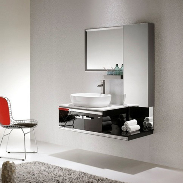 High Diffuse Bathroom Mirror Cabinet Stainless Steel Portfolio On Ceramic Wash Basin