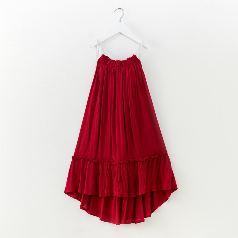 Tanggetu 2018 Girls' Dress Red Sleeveless Beach Cloth For Girl Solid Cute Dress In Summer Holidays 8T Children Backless Colorful embossed tpu gel shell for ipod touch 5 6 girl in red dress