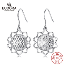 EUDORA 925 Sterling Silver Flower of Life Earrings Dangle Drop Seeds Style Fashion Jewelry With Gift Box CYE093
