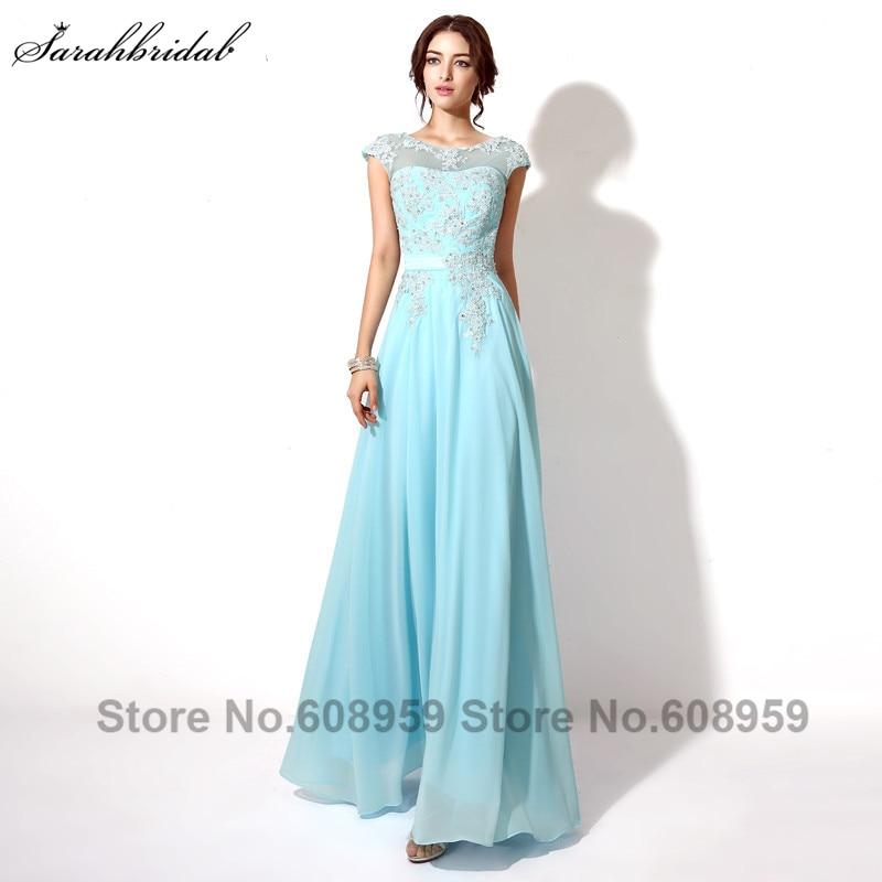 Fashion Blue/Purple Beading Appliques Long Evening Dresses Elegant Sleeveless Chiffon Prom Dresses Vestido De Festa Longo SLD181