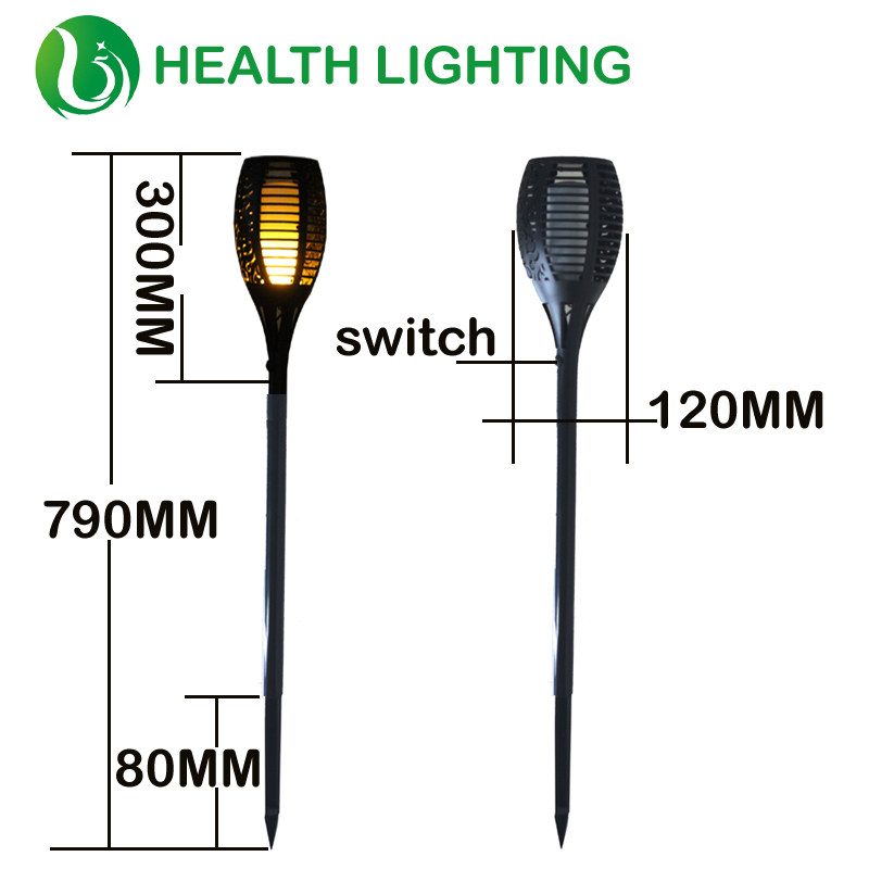 Solar Flame Flickering Lawn Lamp Led Torch Light Realistic Flame Light Emulation flame Garden Decor Lamp