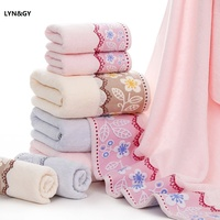 3pcs/set Cotton Pink Embroidered towel set solid 2pcs face towel and 1pc bath towel Quick Dry Towels bathroom for Adult Women's