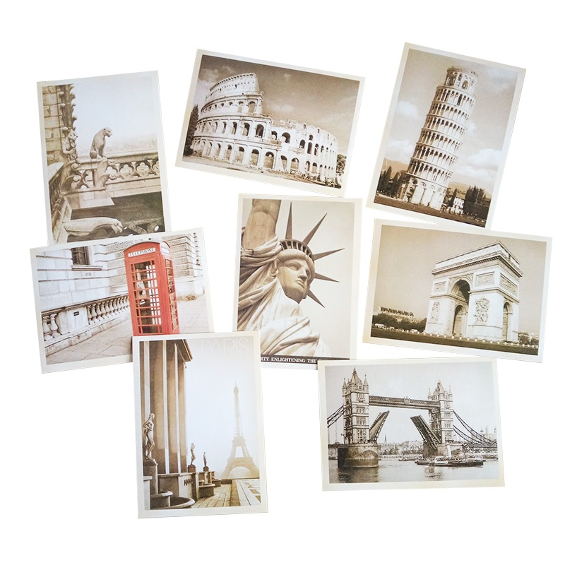 32 Pcs/lot Classical Famous Europe Building Vintage Style Memory Postcard Set Greeting Cards Gift Cards Christmas Postcards 3pcs flying xmas santa ride greeting cards 3d laser cut pop up paper handmade postcards christmas party gifts supplies souvenirs
