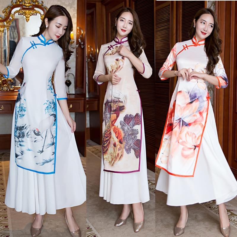 Spring Autumn Vietnamese style Ao Dai loose dress graceful stand collar elegant Women Chinese Traditional Dress folk style Wear