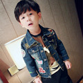 Children Coat 2016 Spring Autumn Baby Boys Full Sleeve Embroidery Fashion Jean Jackets And Coats Denim Blue Baby Outwear 2-5T