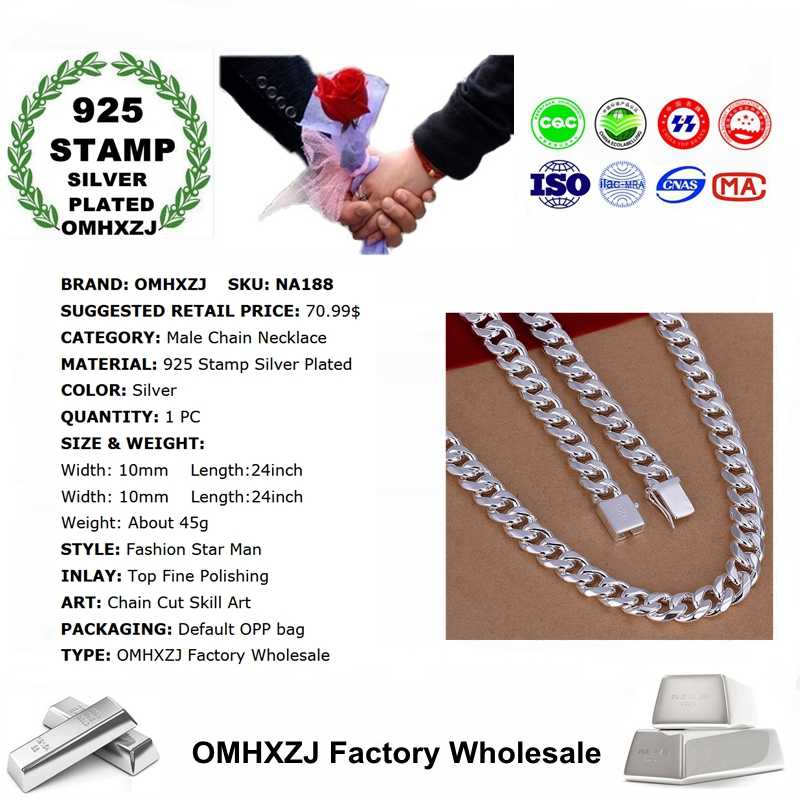 OMHXZJ Wholesale European Fashion Hot Jewelry Man Male Party Wedding Gift Wide Thick Silver 925 Stamp Chain Necklace NA188