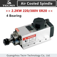 2.2KW air cooled spindle 220V 380V ER20 collet runout off 0.01mm with 4pcs bearing flanged mounting motor