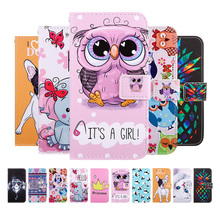 For Huawei p8lite2017p10lite Psmart Leather Case Flip Cover p20lite Mobile Phone Cute Cartoon patterned