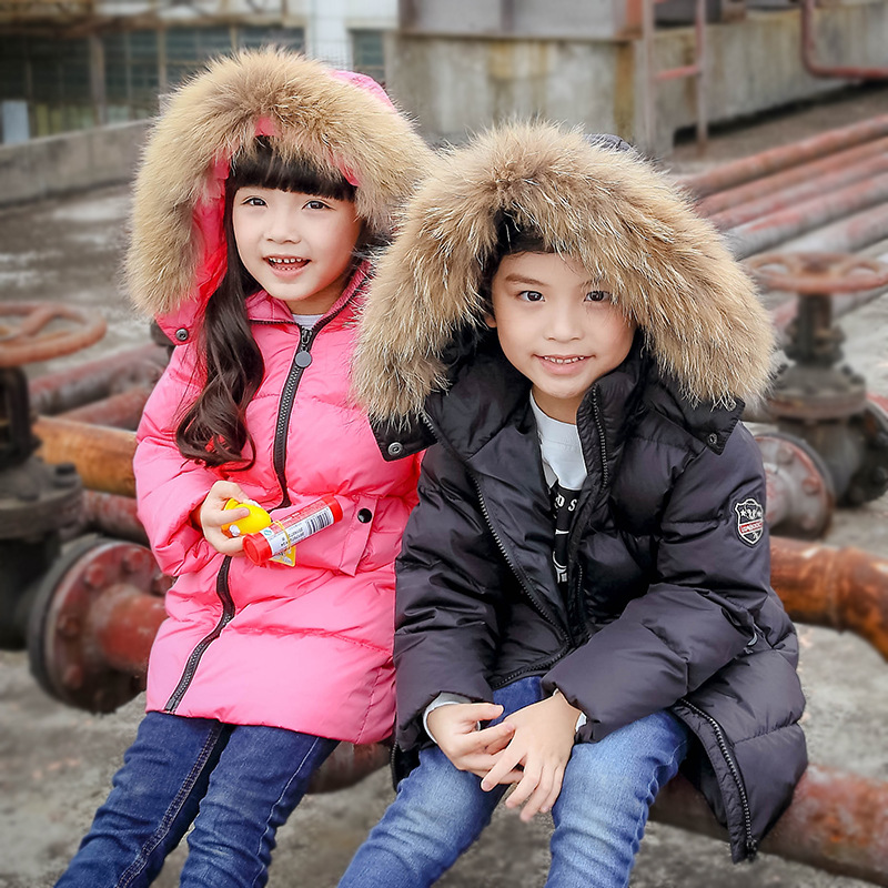 Kids Down Coat Children Winter Hooded Jackets 90% White Duck Down Clothes Baby Boys Girls Long Parka Solid Warm Outerwear mioigee 2017 children winter coat baby white duck down jackets real fur hooded warm winter kids clothes girls outerwear jackets