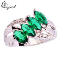 lingmei Wholesale Unisex Green  White CZ Silver  Ring Size 6 7 8 9 10 11 Charming Women Men Jewelry Gift Free Shipping