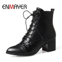 ENMAYER Fashion Winter Boots Square Heel Black White Shoes Ankle Boots Lace-up Women Shoes Autumn Boots Comfort Warm Shoes цена в Москве и Питере