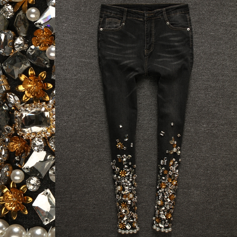 Elastic Skinny jeans woman Female Jeans Denim Beading Diamond Jeans Female Denim Pencil Pants Fashion Casual