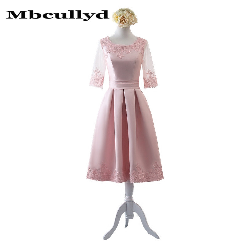 Mbcully Pink Knee Length Bridesmaid Dresses For Women 2020 Sheer Long Sleeves Party Dress Applique Lace Satin Maid Of Honor Gown