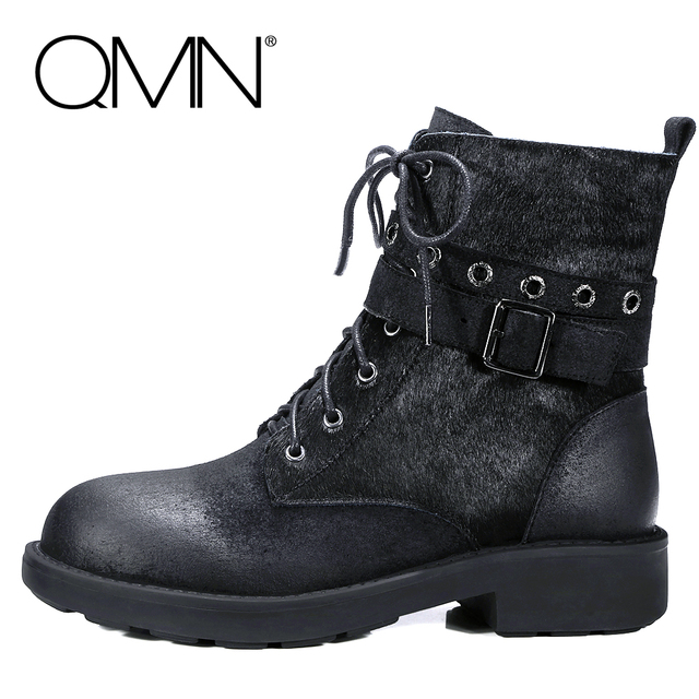 QMN женщины натуральной кожи конского волоса ботильоны Женщин Военный Мотоцикл Сапоги Ботинки Женщина Армейские Ботинки