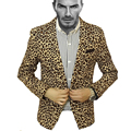 2017 New Arrival Prom Nightclub Clothes Men Blazer Pattern Leopard Print Sexy Male Suit Jacket Stylish Slim Fit Design