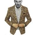 2017 Recién Llegado de Baile Discoteca Patrón Estampado de Leopardo Sexy Chaqueta de Traje Masculino Ropa Chaqueta de Los Hombres Con Estilo Slim Fit Diseño