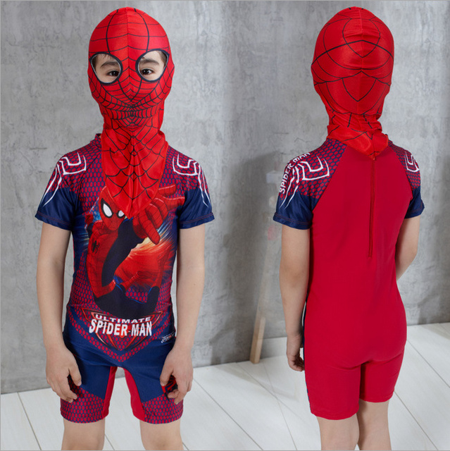 2ee8926a556af 2PCs Swimming Clothes For Boy Spiderman Swim Trunks With Cap Boys Bathing  Suit Swimsuit Kids Swimwear Children's Swimming Shorts