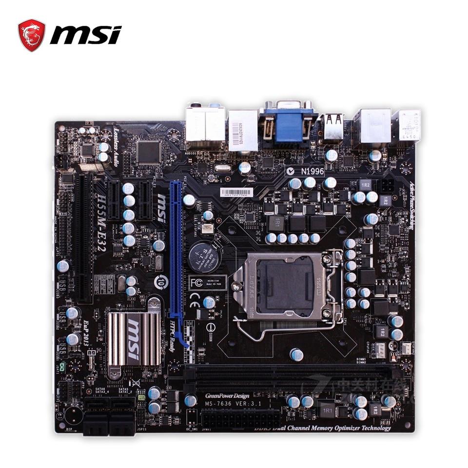 MSI H55M-E32 Desktop Motherboard H55 Socket LGA 1156 i3 i5 i7 DDR3 8G SATA2 USB2 Micro-ATX asus p7h55 m lx usb3 desktop motherboard h55 socket lga 1156 i3 i5 i7 ddr3 usb3 0 uatx