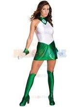 Custom Made Sexy Shiny Metallic Womens Green Lantern Costume Adult Zentai Catsuit for 2017 Halloween